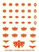Dark Angels red small Transfer Sheet Warhammer 40,000 decals (OOP)